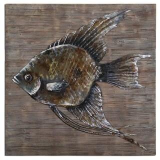 "40"" Nautical Hand-Embossed Steel Fish Sculpture on Reclaimed Wood Wall Art"