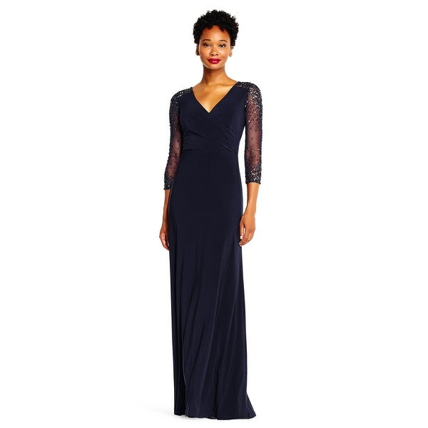 fe76e16dd6e Shop Adrianna Papell Women s Jersey Gown with Sheer Beaded 3 4 Sleeves -  Free Shipping Today - Overstock - 24121102