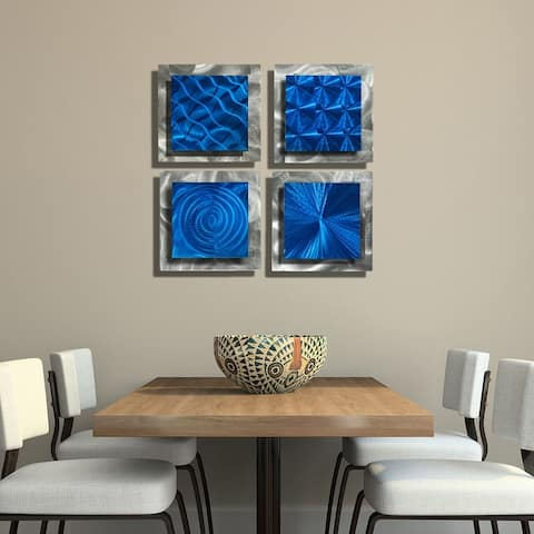 Statements2000 Abstract Metal Wall Art Accent Sculpture Modern Decor by Jon Allen (Set of 4) - 4 Squares