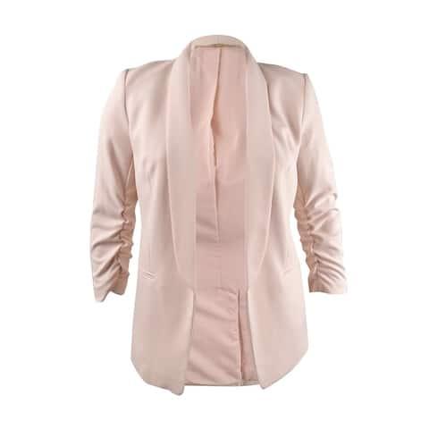 DKNY Women's Shawl-Collar Ruched-Sleeve Blazer (10, Rose Dust)