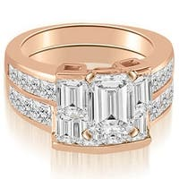 3.80 cttw. 14K Rose Gold Channel Diamond Princess and Emerald Cut Bridal Set