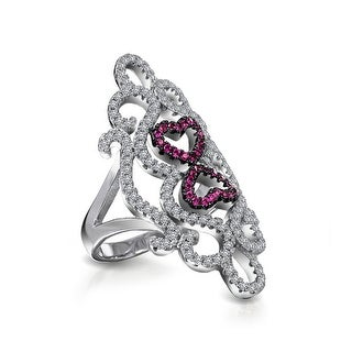 Bling Jewelry Red CZ Swirl Heart Knuckle Statement Ring Silver