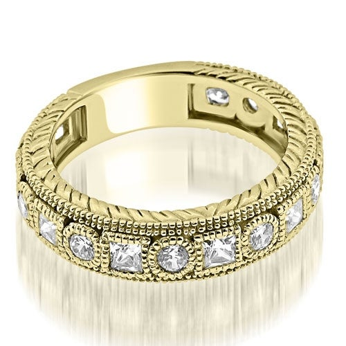 1.00 cttw. 14K Yellow Gold Antique Round Princess Bezel Diamond Eternity Ring