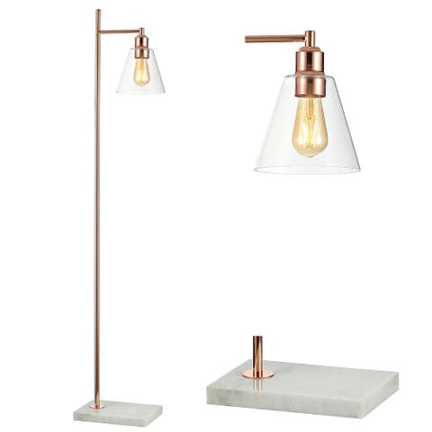 """Lorena 55"""" Modern Metal/Marble LED Floor Lamp, Copper by JONATHAN Y"""