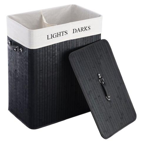 Black Bamboo 2-Bin Lights Darks Laundry Hamper with Handles