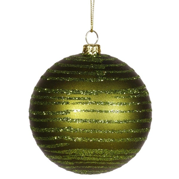 "Olive Green Glitter Striped Shatterproof Christmas Ball Ornament 3"" (75mm)"