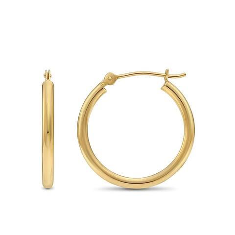 Pori Jewelers 14K Solid Gold 2x20MM High Polished Hoop Earrings BOXED