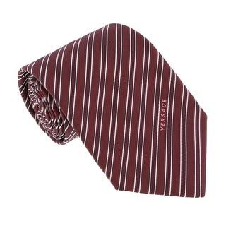 Versace Bordeaux Woven Tonal Stripe Tie