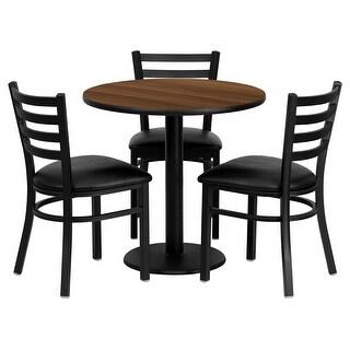 "Dyersburg 4pcs Table Set Round 30"" Walnut Laminate, Black Vinyl Chair"