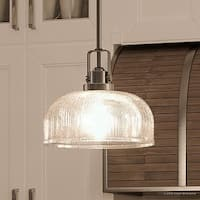 """Luxury Industrial Chic Pendant Light, 9""""H x 10.5""""W, with Modern Farmhouse Style, Aged Nickel Finish by Urban Ambiance"""