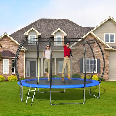 12FT Pumpkin-Shaped Trampolines With Enclosure And Safety Pad