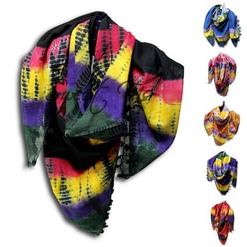 Scarf for Women Sheer Soft Cotton Tie Dye Red Green Blue Yellow Purple Tan Black Bandana - 42 x 42 in