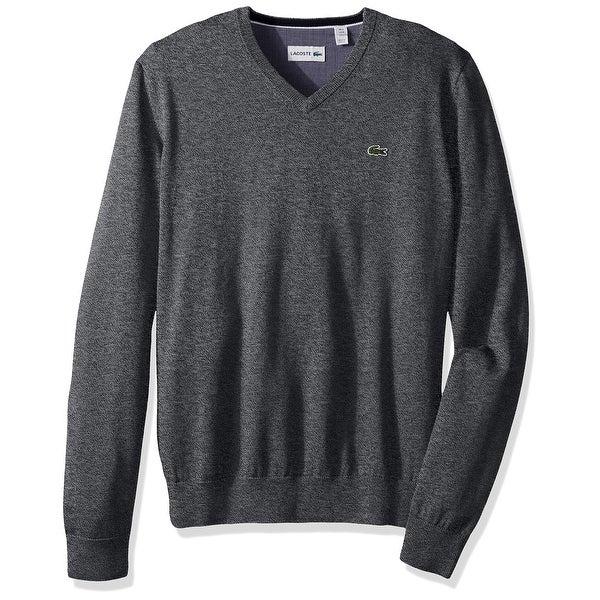 5e58fb10 Lacoste NEW Gray Men's Size Large L Logo Chambray V-Neck Sweater