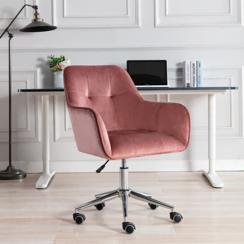 Corvus Wieden Contemporary Velvet Tufted Adjustable Ergonomic Home Office Chair