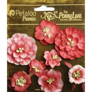 """Antique Red - Penny Lane Mixed Blossoms 1"""" To 1.75"""" 8/Pkg"""