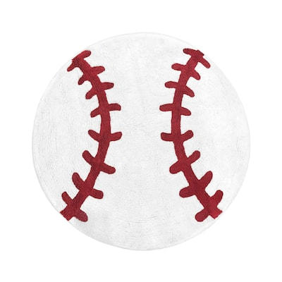 """Sweet Jojo Designs Red and White Baseball Patch Sports Collection Accent Floor Rug (30"""" Round)"""