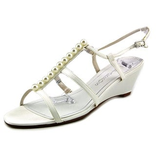 Caparros Sullivan Women Open Toe Canvas Ivory Wedge Sandal