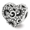 Sterling Silver Reflections Swarovski Elements Filigree Heart Bead (4mm Diameter Hole) - Thumbnail 0