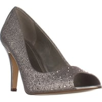 SC35 Monaee Peep Toe Sparkle Dress Pumps, Silver
