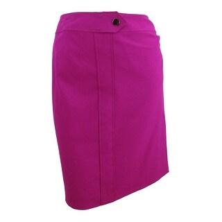 Nine West Women's Plus Size Solid Slim Skirt - Magenta