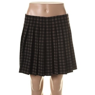 Theory Womens Wool Plaid A-Line Skirt - 12