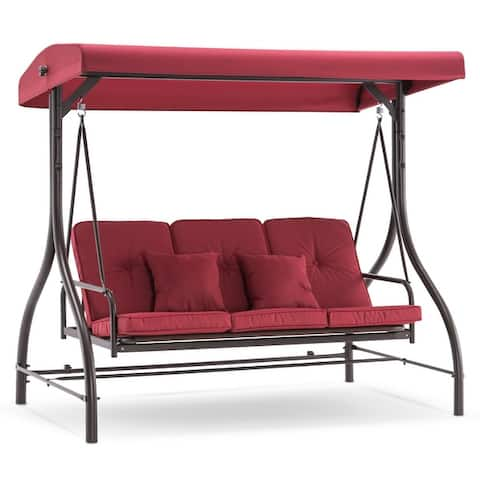 Mcombo 3-Seat Outdoor Patio Swing Chair, Adjustable Backrest and Canopy, Porch Swing Glider Chair, w/Cushions, 4068