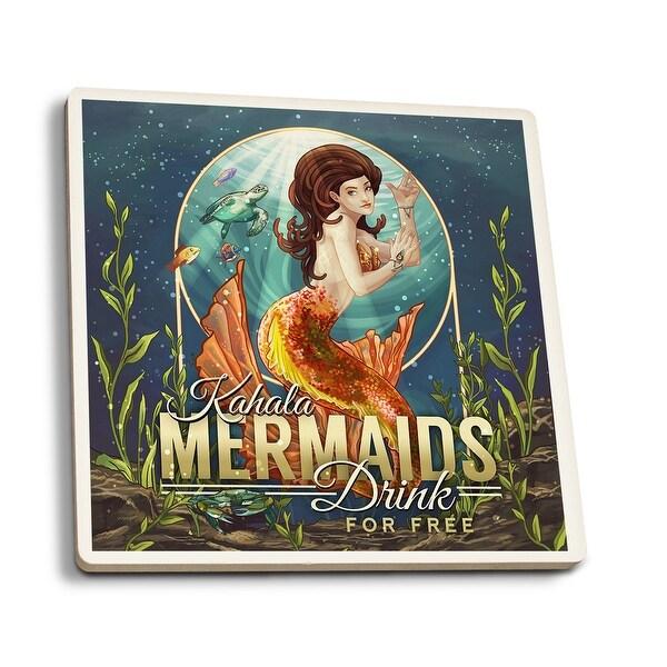 Kahala, HI - Mermaids Drink for Free - LP Artwork (Set of 4 Ceramic Coasters)