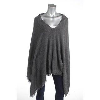 Minnie Rose Womens Poncho Sweater Knit Fringe - o/s