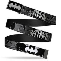 Batman Reverse Brushed Silver Cam Batman W Bat Signals & Flying Bats Web Belt