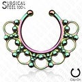 316L Surgical Steel Fake Septum Hanger Beaded Tribal Fan (Sold Ind.) - Thumbnail 4