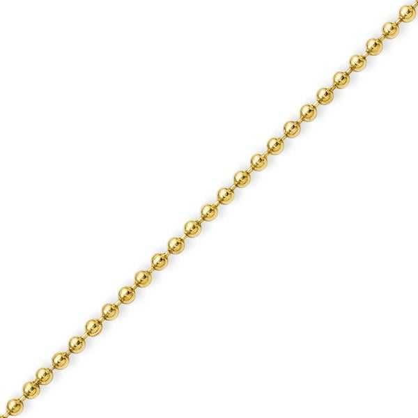 Stainless Steel IP Gold-plated 2.0mm 18in Ball Chain (2 mm) - 18 in