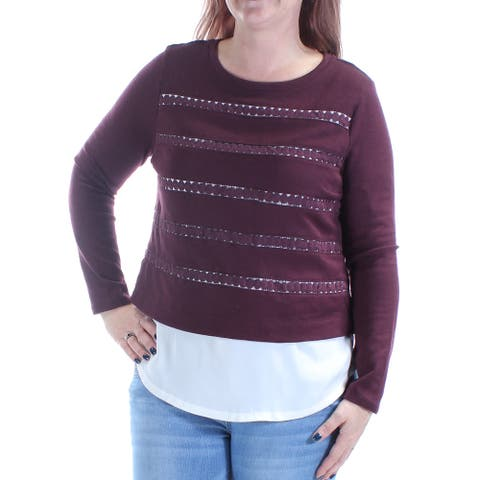 RACHEL ROY Womens Burgundy Long Sleeve Jewel Neck Sweater Size XS