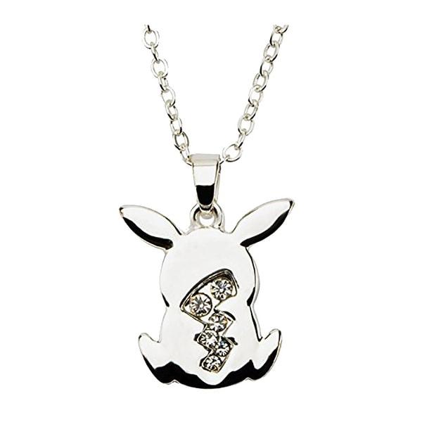 Pokemon Pikachu Tail w/ Gems Silver Pendant Necklace