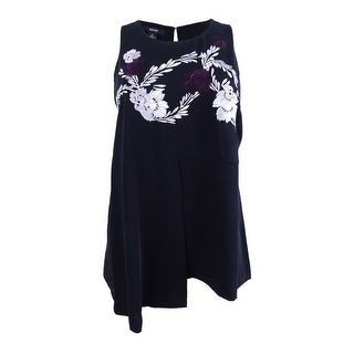 Alfani Women's Embroidered Swing Top - Deep Black