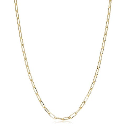 10k Yellow Gold 2.5 millimeter Polished Paperclip Link Chain Necklace