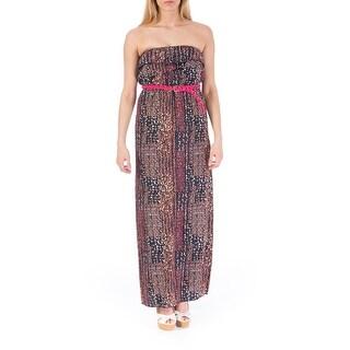 Trixxi Womens Juniors Strapless Printed Maxi Dress