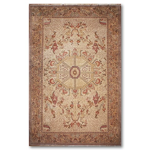 """Hand-Knotted Very Fine, 200 KPSI Beige,Pale Pink Persian Wool Traditional Oriental Area Rug (Palace) - 10'3"""" x 13'11"""""""