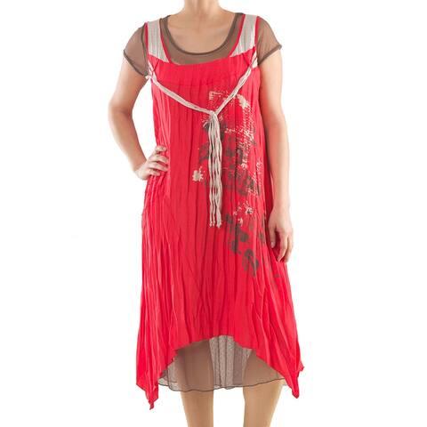 Linen Dress with Print - Women's Plus Size Dresses - Summer Dress - La Mouette Collection