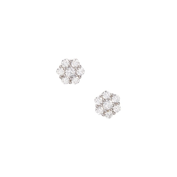 925 Sterling Silver 7.5 MM Cluster Stud Earrings with Cubic Zirconia