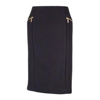 Alfani Women's Ribbed Pencil Skirt - Deep Black