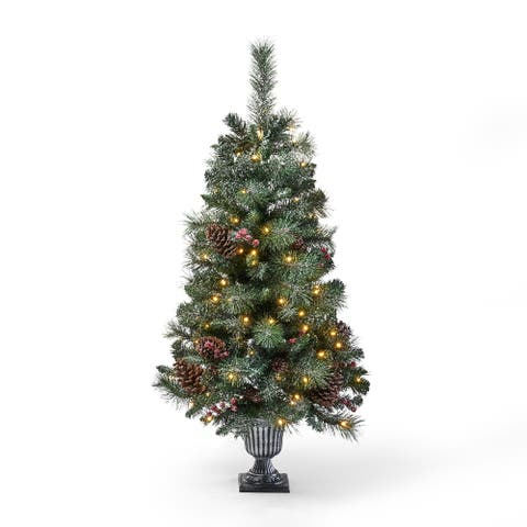 Galen 4-foot Pine Pre-Lit Clear LED Pre-Decorated Artificial Potted Christmas Tree by Christopher Knight Home