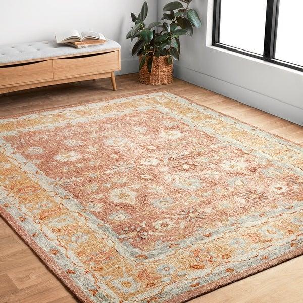 """Hand-hooked Traditional Rust/ Gold Mosaic Wool Rug (3'6 x 5'6) - 3'6"""" x 5'6"""""""