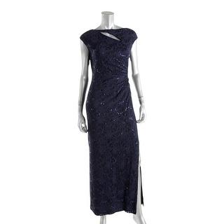 Lauren Ralph Lauren Womens Petites Formal Dress Lace Sequinned