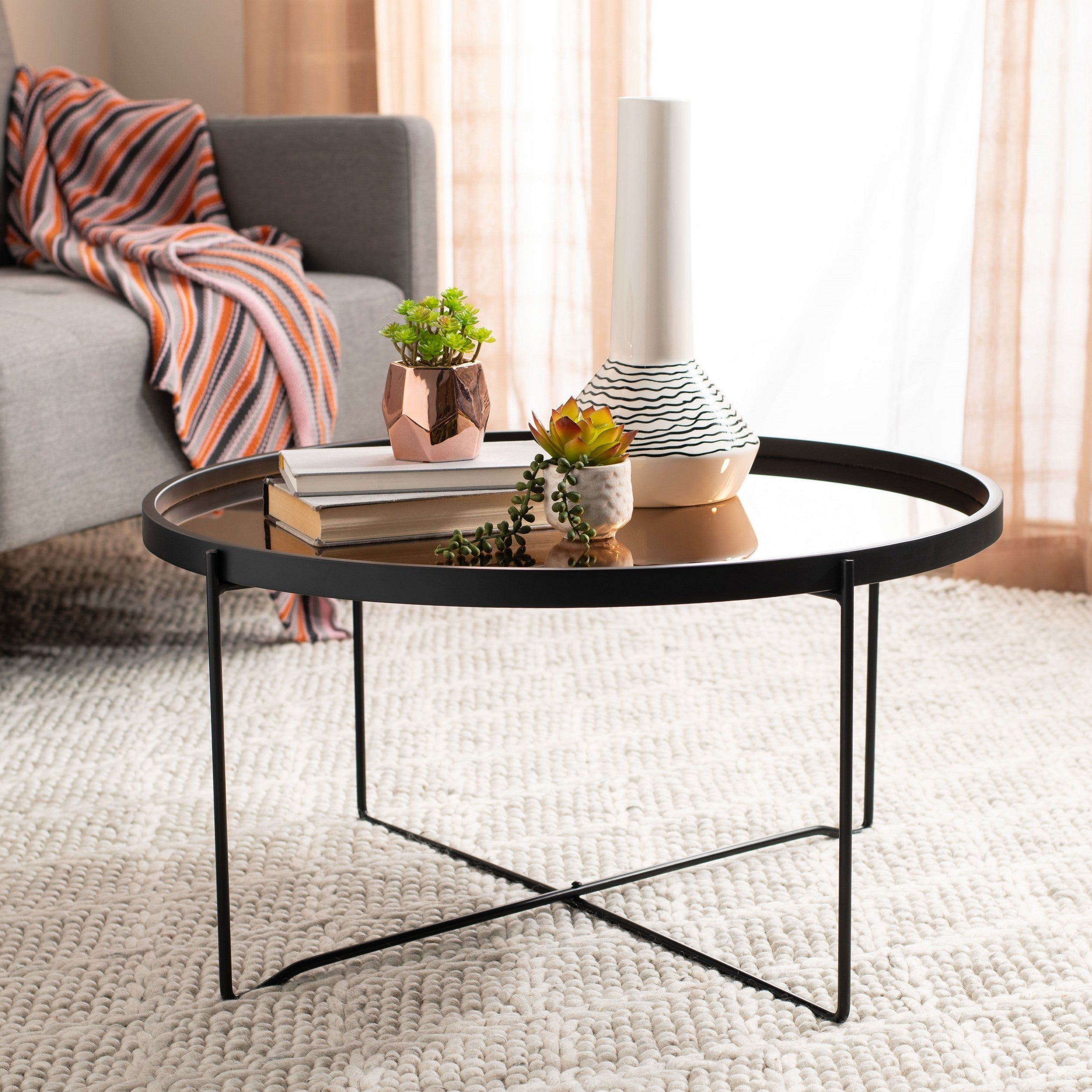 - Shop Safavieh Ruby Round Tray Top Coffee Table - 29