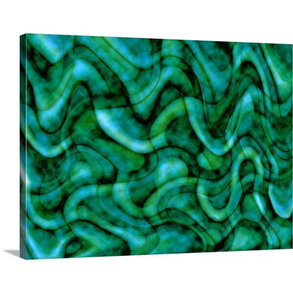 """Emerald And Blue Fibers"" Canvas Wall Art"