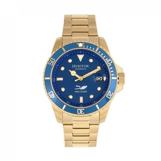 Heritor Automatic Lucius Bracelet Watch w/Date - Gold/Blue