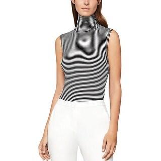 BCBG Max Azria Womens Bodysuit Turtleneck Striped - Black Combo