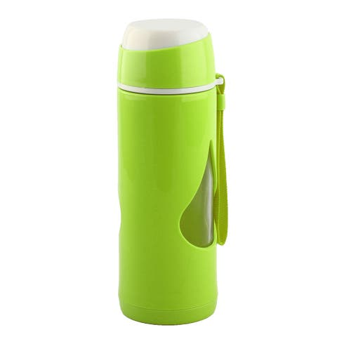 Plastic Sleeve Water Bottle Camping Mug Cup Driving Canteen Kettle Green 450ml