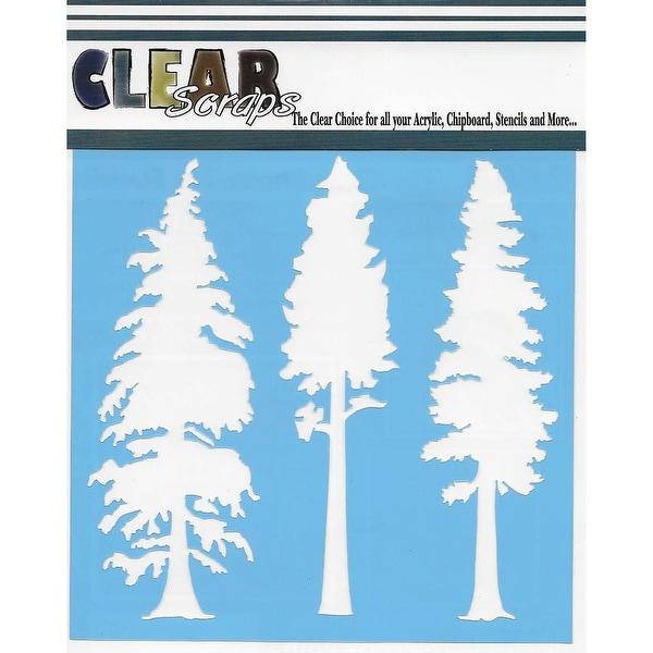 "Clear Scraps Stencils 6""X6""-Pine Trees"