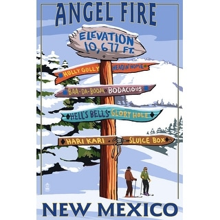 Angel Fire, New Mexico - Destinations Sign - Lantern Press Artwork (Art Print - Multiple Sizes Available)